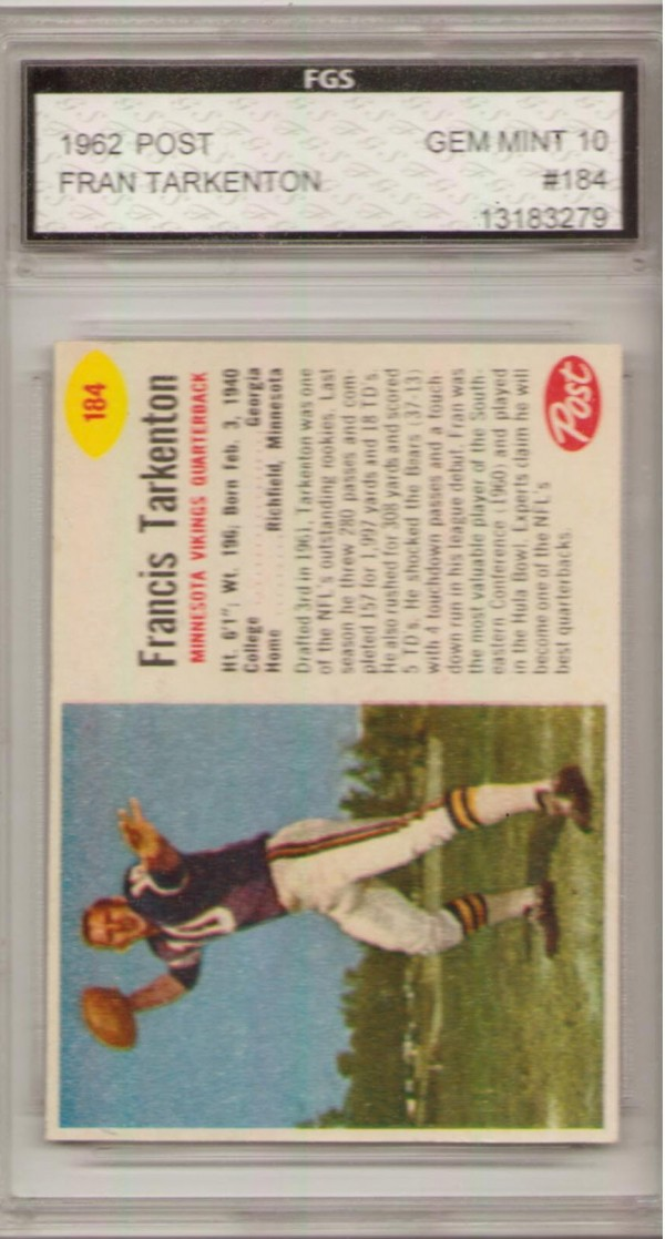 1962 Post Cereal #184 Fran Tarkenton