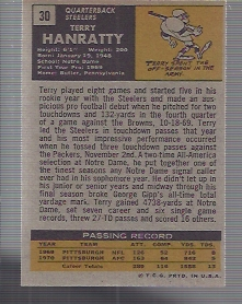 1971 Topps #30 Terry Hanratty RC back image