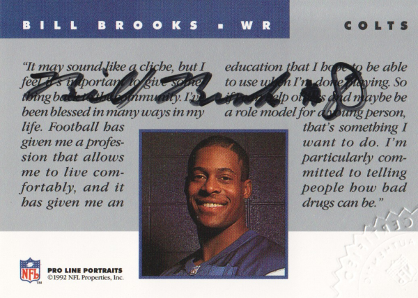 1992 Pro Line Portraits Autographs #9 Bill Brooks
