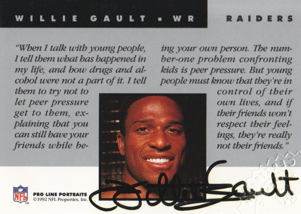 1992 Pro Line Portraits Autographs #52 Willie Gault