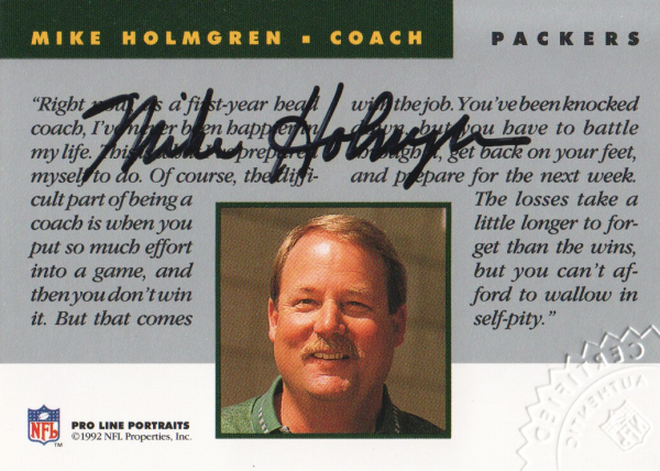 1992 Pro Line Portraits Autographs #70 Mike Holmgren CO