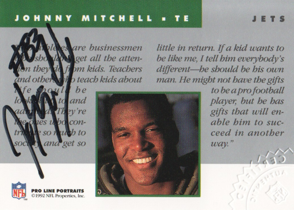 1992 Pro Line Portraits Autographs #100 Johnny Mitchell