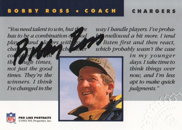 1992 Pro Line Portraits Autographs #113 Bobby Ross CO