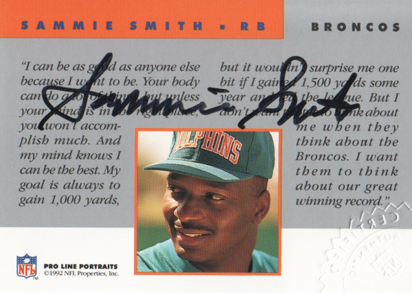 1992 Pro Line Portraits Autographs #127 Sammie Smith