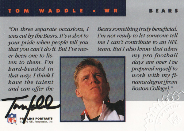 1992 Pro Line Portraits Autographs #146 Tom Waddle