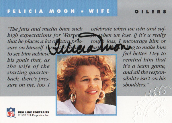 1992 Pro Line Portraits Wives Autographs #10 Felicia Moon