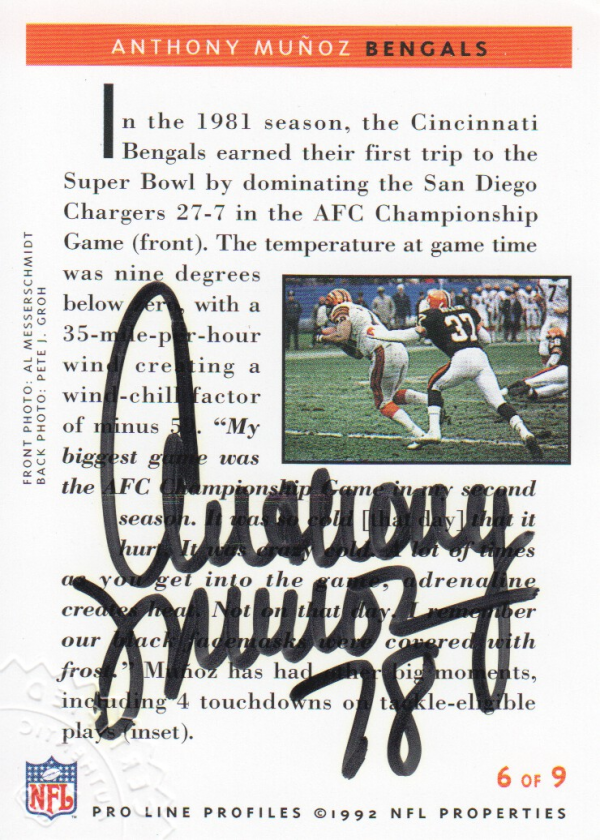 1992 Pro Line Profiles Autographs #87 Anthony Munoz