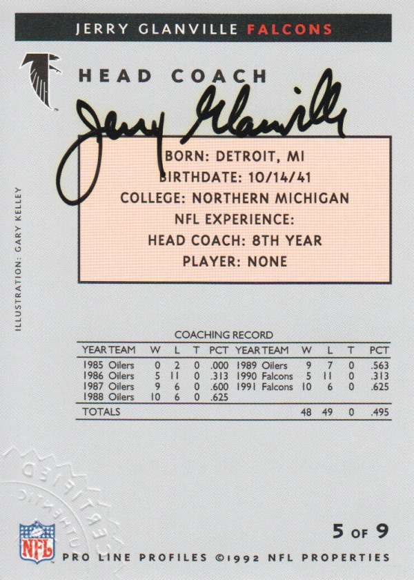 1992 Pro Line Profiles Autographs #266 Jerry Glanville CO