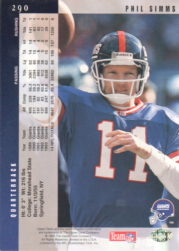 1994 Upper Deck Electric Silver #290 Phil Simms back image