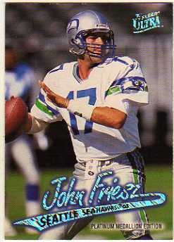 1997 Ultra Platinum Medallion #24 John Friesz