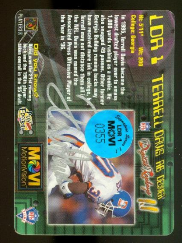 1997 MotionVision Limited Digital Replays #LDR1A Terrell Davis AU