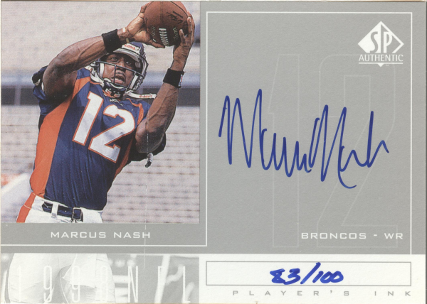 1998 SP Authentic Player's Ink Silver #MN Marcus Nash