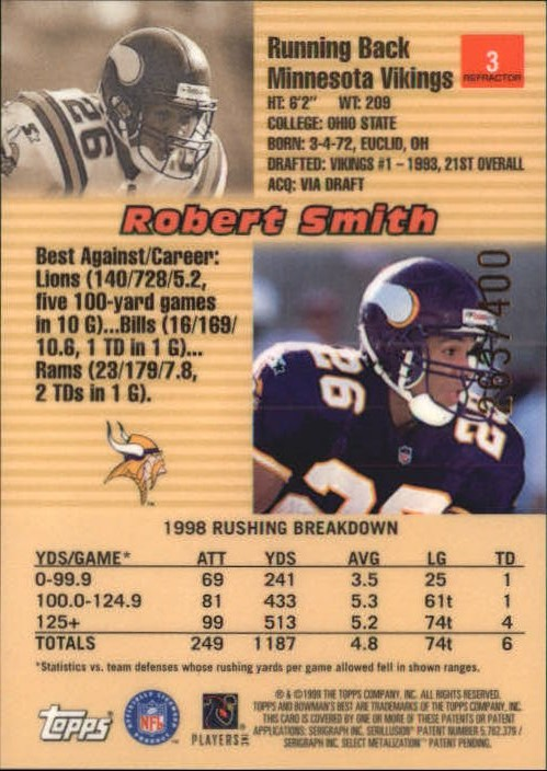 1999 Bowman's Best Refractors #3 Robert Smith back image