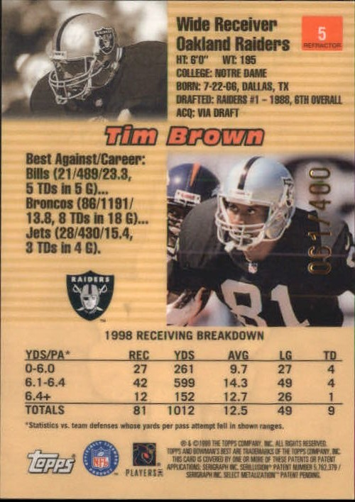 1999 Bowman's Best Refractors #5 Tim Brown back image