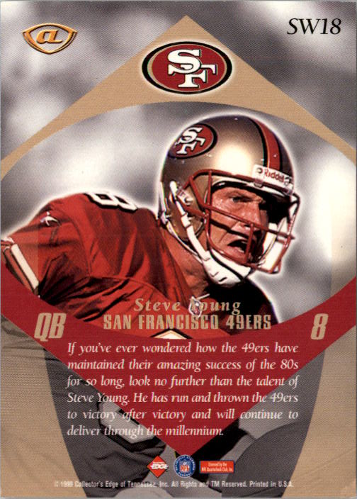 1999 Collector's Edge Advantage Shockwaves #SW18 Steve Young back image