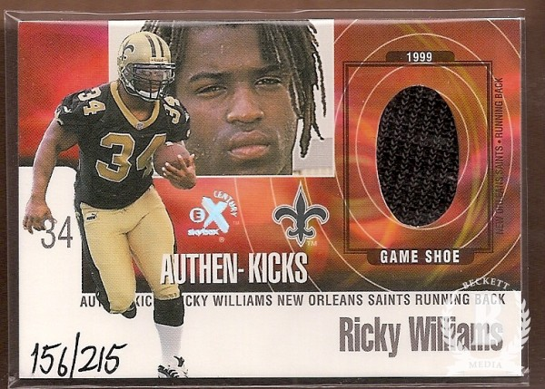 1999 E-X Century Authen-Kicks #11AK Ricky Williams/215