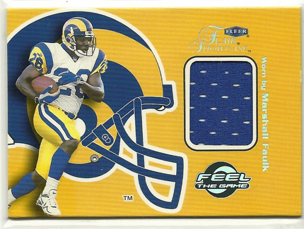 1999 Flair Showcase Feel The Game #10FG Marshall Faulk JSY