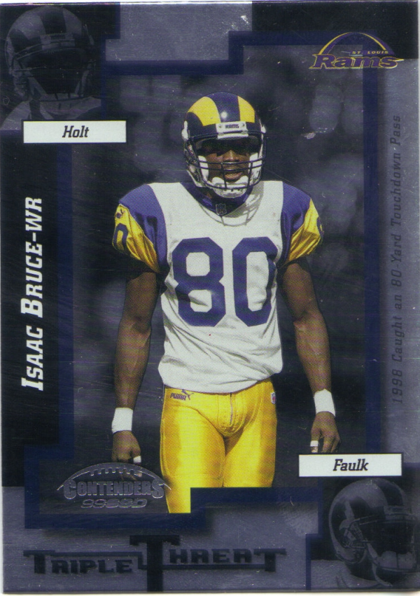 1999 Playoff Contenders SSD Triple Threat #TT20 Isaac Bruce/Torry Holt/Marshall Faulk