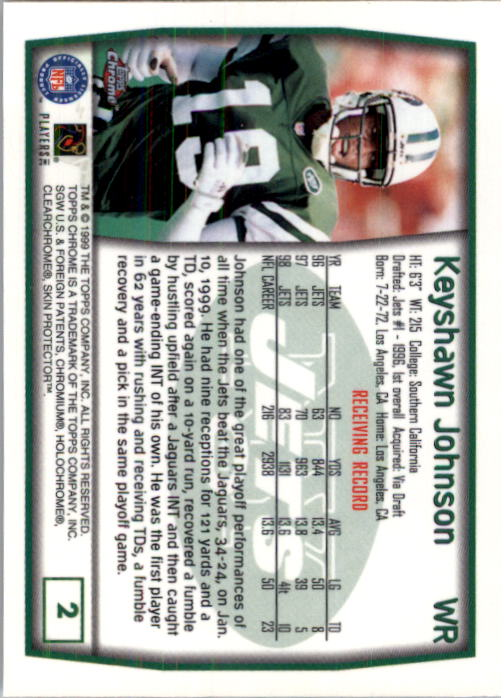 1999 Topps Chrome #2 Keyshawn Johnson back image