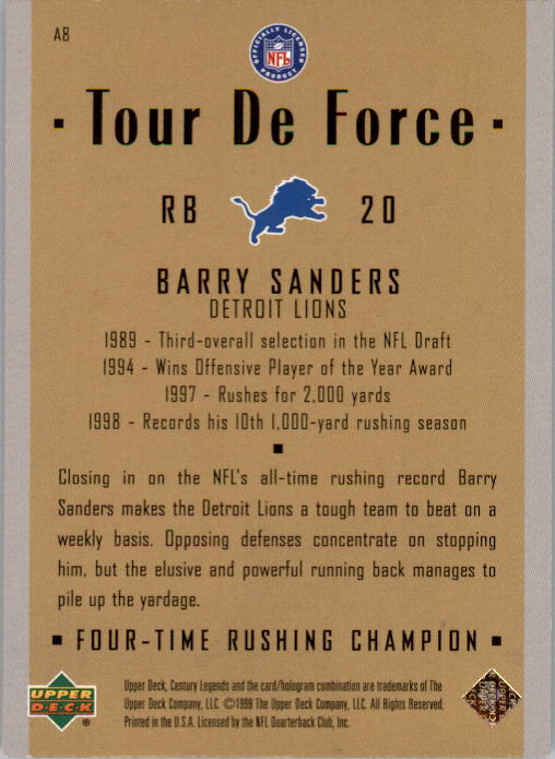 1999 Upper Deck Century Legends Tour de Force #A8 Barry Sanders back image