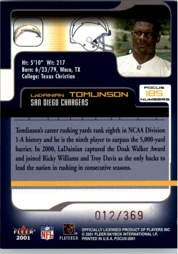 2001 Fleer Focus Numbers #185 LaDainian Tomlinson/369 back image