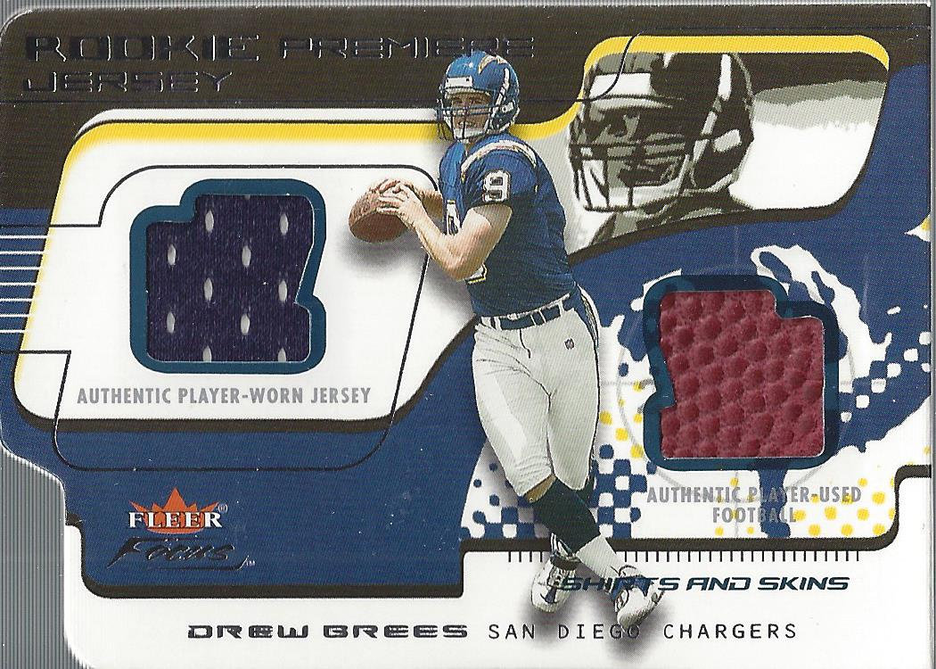 2001 Fleer Focus Rookie Premiere Jersey Shirts and Skins #RPDB Drew Brees