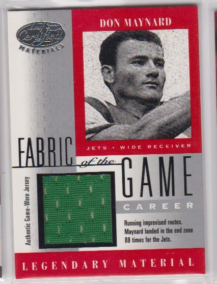 2001 Leaf Certified Materials Fabric of the Game #10CR Don Maynard/88
