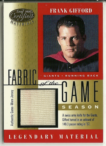 2001 Leaf Certified Materials Fabric of the Game #14SN Frank Gifford/51