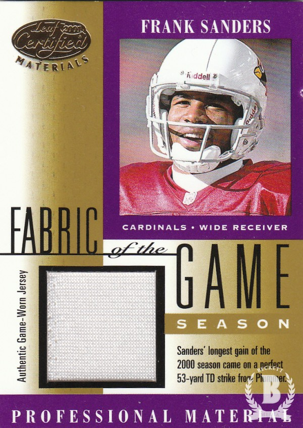 2001 Leaf Certified Materials Fabric of the Game #120SN Frank Sanders/54