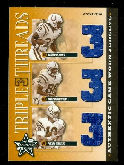 2001 Leaf Rookies and Stars Triple Threads #TT3 Edgerrin James/Marvin Harrison/Peyton Manning
