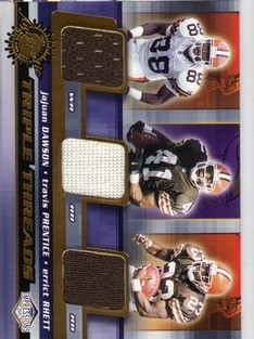 2001 Pacific Impressions Triple Threads #13 JaJuan Dawson/Travis Prentice/Errict Rhett