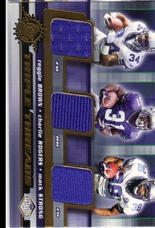 2001 Pacific Impressions Triple Threads #34 Reggie Brown/Charlie Rogers/Mack Strong