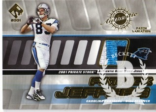 2001 Private Stock Game Worn Gear Patch #21 Patrick Jeffers/225