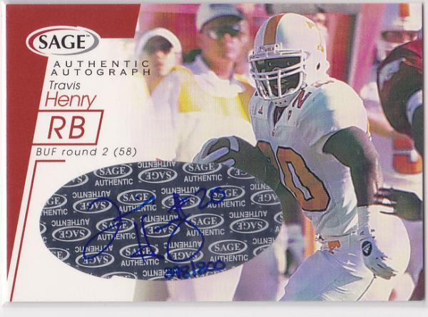 2001 SAGE Autographs Red #A22 Travis Henry/800