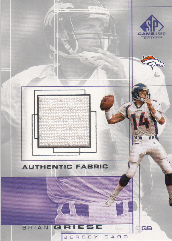 2001 SP Game Used Edition Authentic Fabric #BG Brian Griese