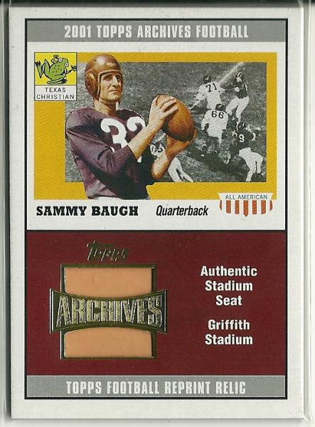 2001 Topps Archives Relic Seats #ASSB Sammy Baugh