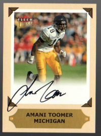 2001 Ultra College Greats Previews Autographs #30 Amani Toomer front image