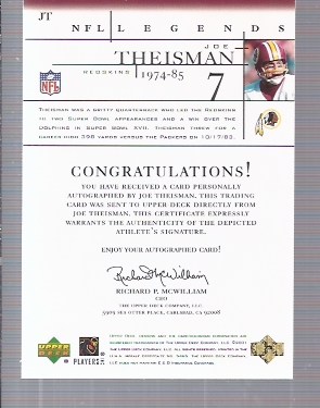 2001 Upper Deck Legends Autographs #JT Joe Theismann UER/(name misspelled Theisman) back image