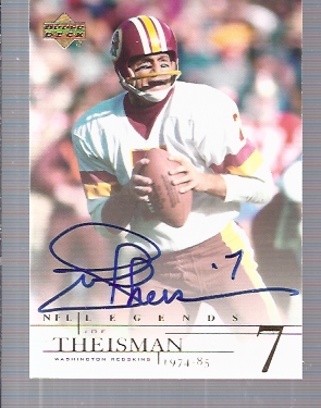 2001 Upper Deck Legends Autographs #JT Joe Theismann UER/(name misspelled Theisman)