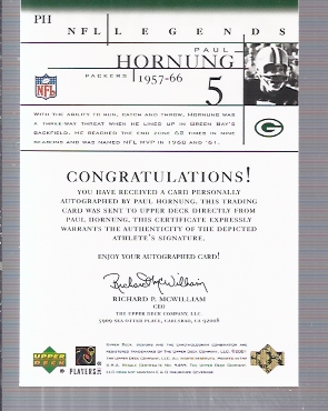 2001 Upper Deck Legends Autographs #PH Paul Hornung back image