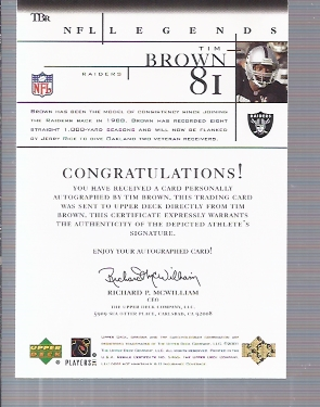 2001 Upper Deck Legends Autographs #TB2 Tim Brown back image