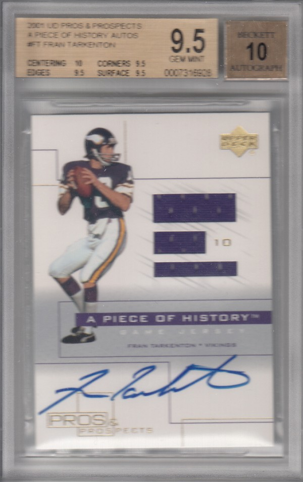 2001 Upper Deck Pros and Prospects A Piece of History Autographs #FTAJ Fran Tarkenton