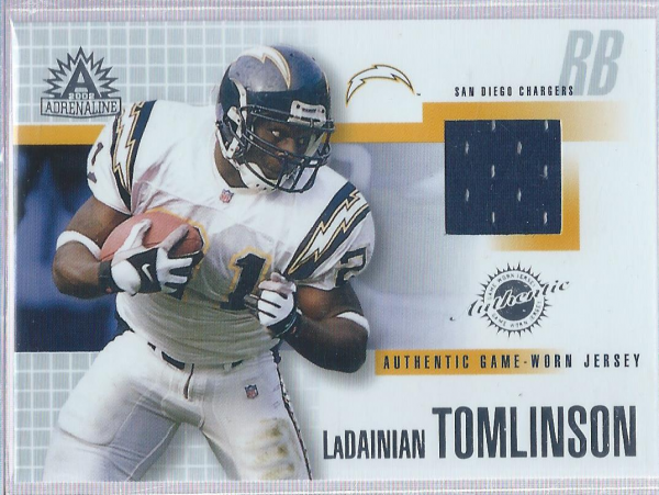 2002 Pacific Adrenaline Game Worn Jerseys #44 LaDainian Tomlinson