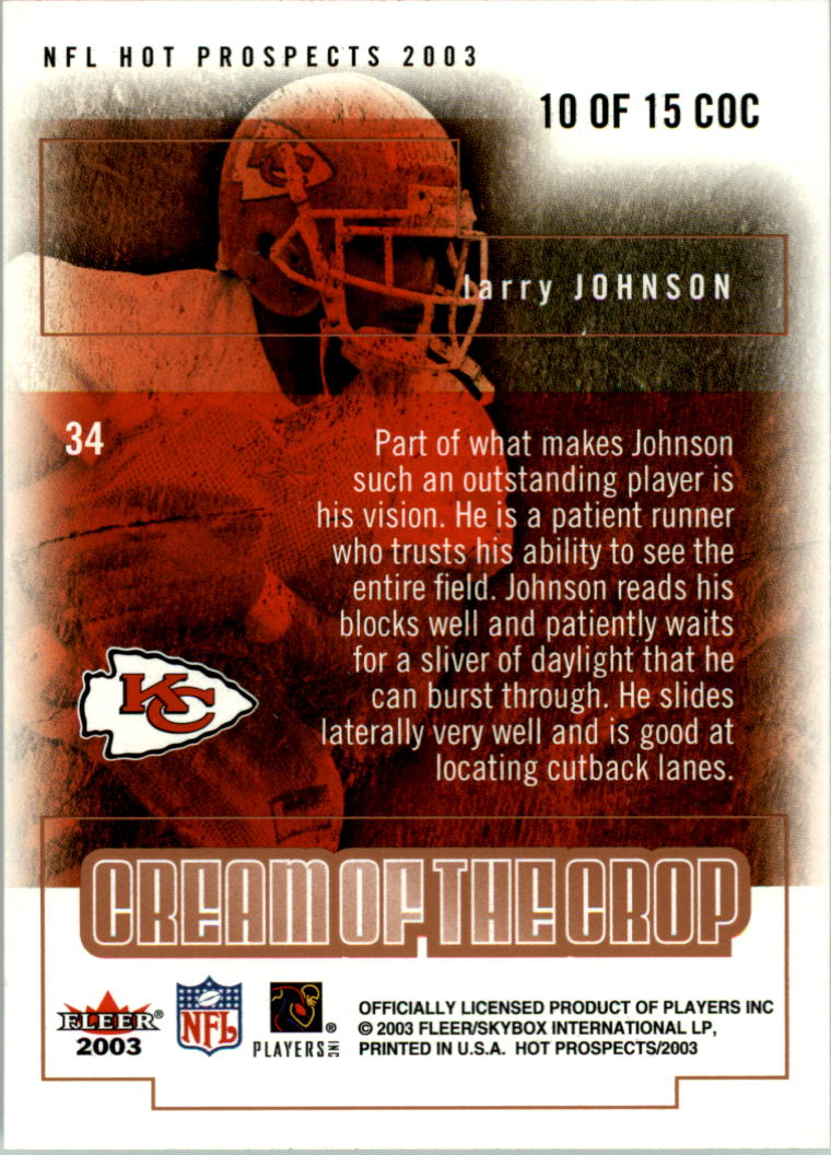 2003 Hot Prospects Cream of the Crop #10 Larry Johnson back image
