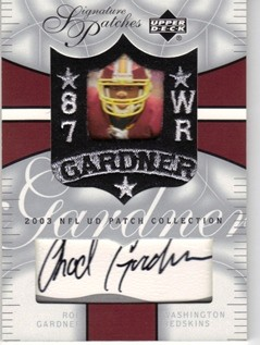 2003 UD Patch Collection Signature Patches #SPRG Rod Gardner