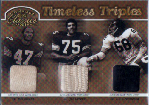 2003 Donruss Classics Timeless Triples Jerseys #TT9 Joe Greene/Mel Blount/L.C. Greenwood/100