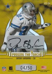 2003 Donruss Elite Passing the Torch Autographs #PT24 Deion Sanders/Roy Williams front image