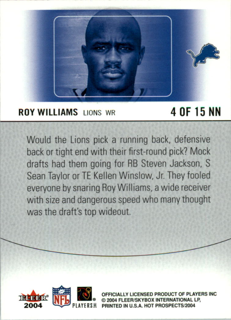 2004 Hot Prospects Notable Newcomers #4NN Roy Williams WR back image