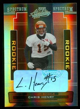 2005 Absolute Memorabilia Spectrum Gold Autographs #165 Chris Henry/50