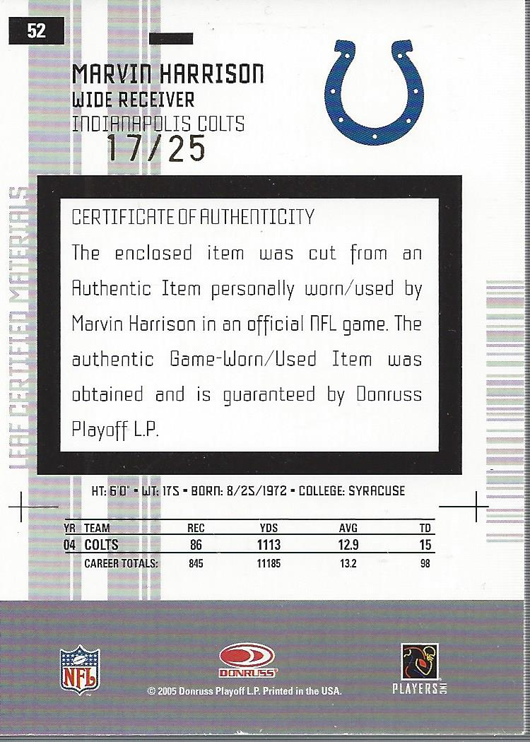 2005 Leaf Certified Materials Mirror Gold Materials #52 Marvin Harrison back image